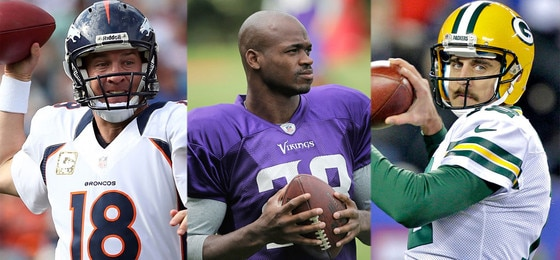 Peyton Manning, Denver Broncos, Adrian Peterson, Minnesota Vikings, Aaron Rodgers, Green Bay Packers