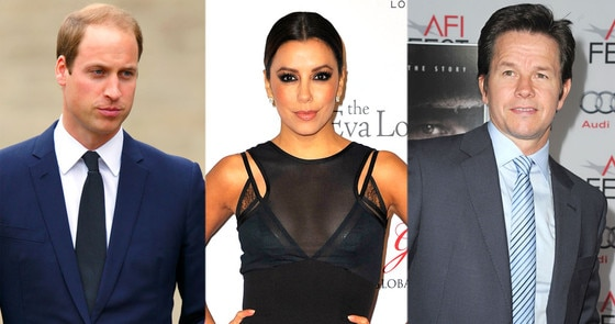 Prince William, Eva Longoria, Mark Wahlberg