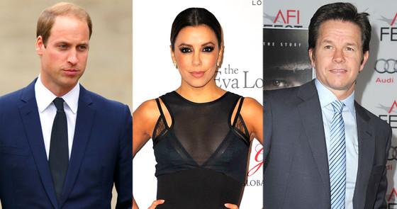 Prince William, Eva Longoria, Mark Wahlberg