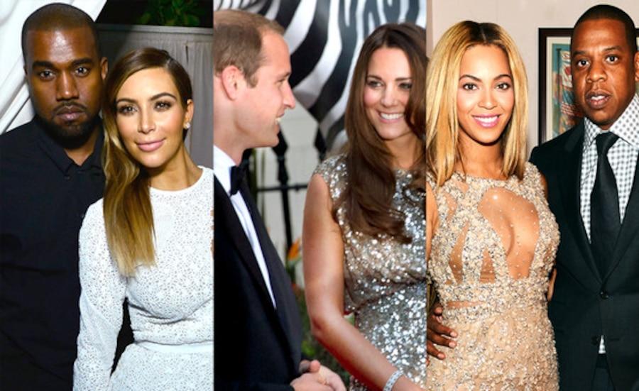 Kim Kardashian, Kanye West, Prince WiIliam. Duchess Catherine, Beyonce, Jay-Z