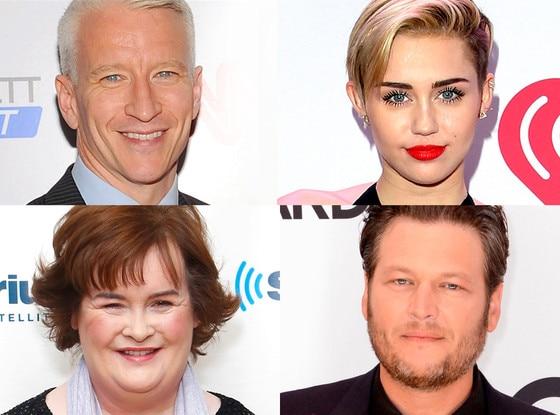 Miley Cyrus, Blake Shelton, Susan Boyle, Anderson Cooper