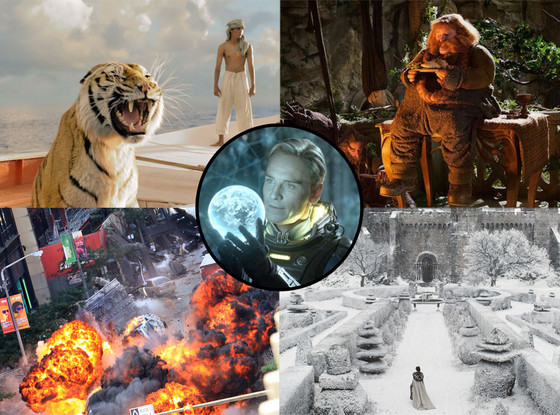 The Hobbit: An Unexpected Journey, Life of Pi, Marvel's The Avengers, Prometheus, Snow White and the Huntsman