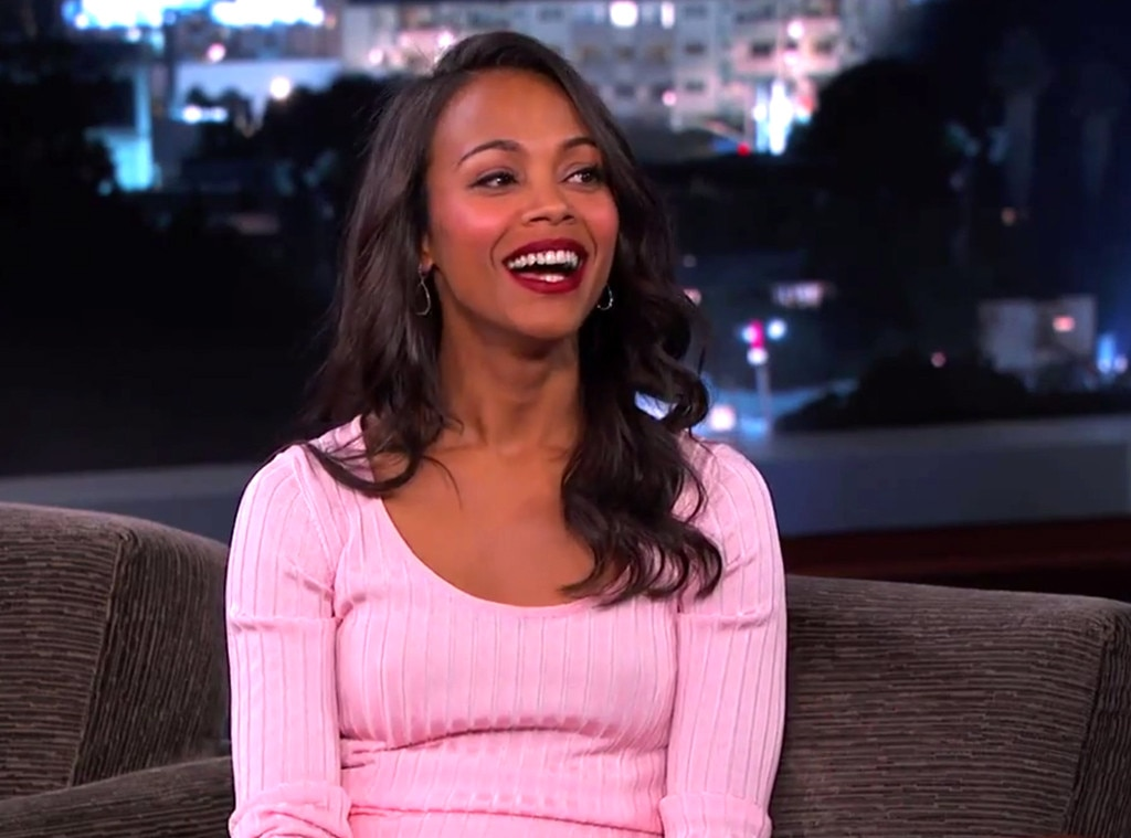 Zoe Saldana, Jimmy Kimmel, Pink Dress
