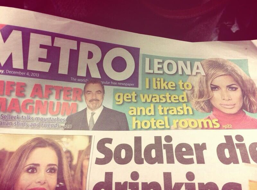 Leona Lewis, Metro, Hotel Trashing, Twitter