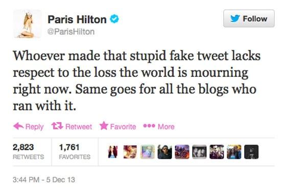 Paris Hilton, Nelson Mandela Tweets