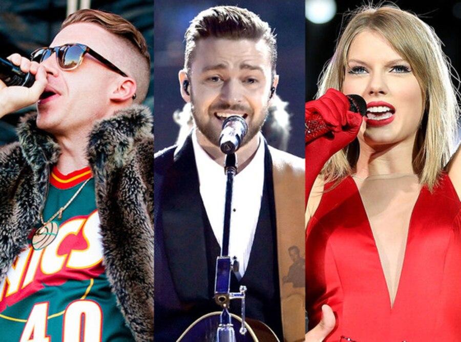 Justin Timberlake, Taylor Swift, Macklemore