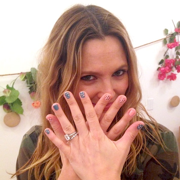 Drew Barrymore Plays Coy About Second Babys Gender With Blue And Pink Nails