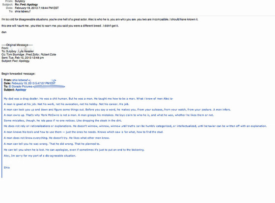Shia LaBeouf, Emails
