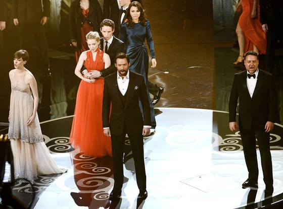2013 Oscars Show, Les Miserables Cast, Anne Hathaway, Hugh Jackman, Russell Crow, Amanda Seyfried