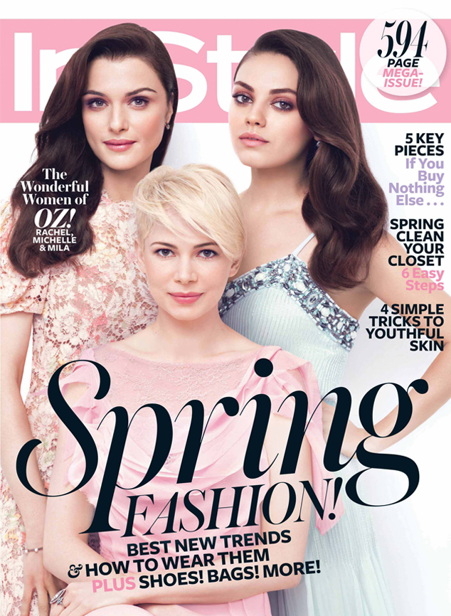 InStyle, Rachel Weisz, Michelle Williams, Mila Kunis, March Cover