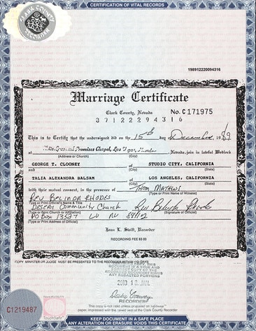 Marriage Certificate, George Clooney