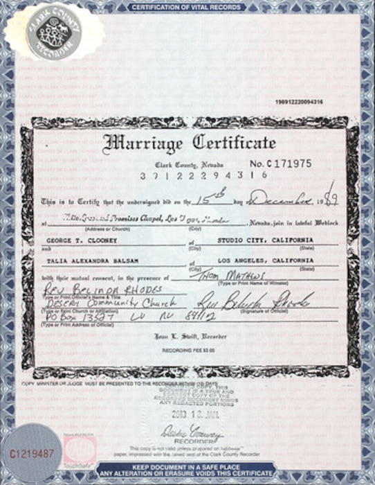 Marriage Certificate, George Clooney