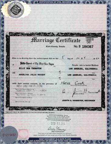 Marriage Certificate, Angelina Jolie, Billy Bob Thornton