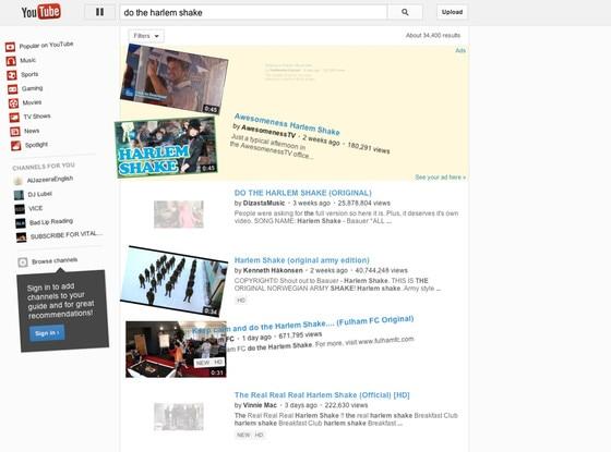 YouTube, Harlem Shake Easter Egg