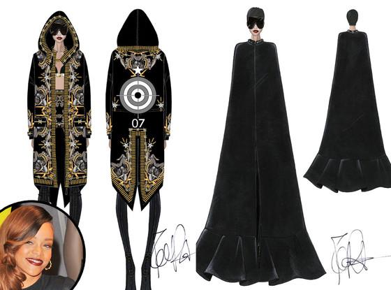 Rihanna, Givenchy Fashion Sketches