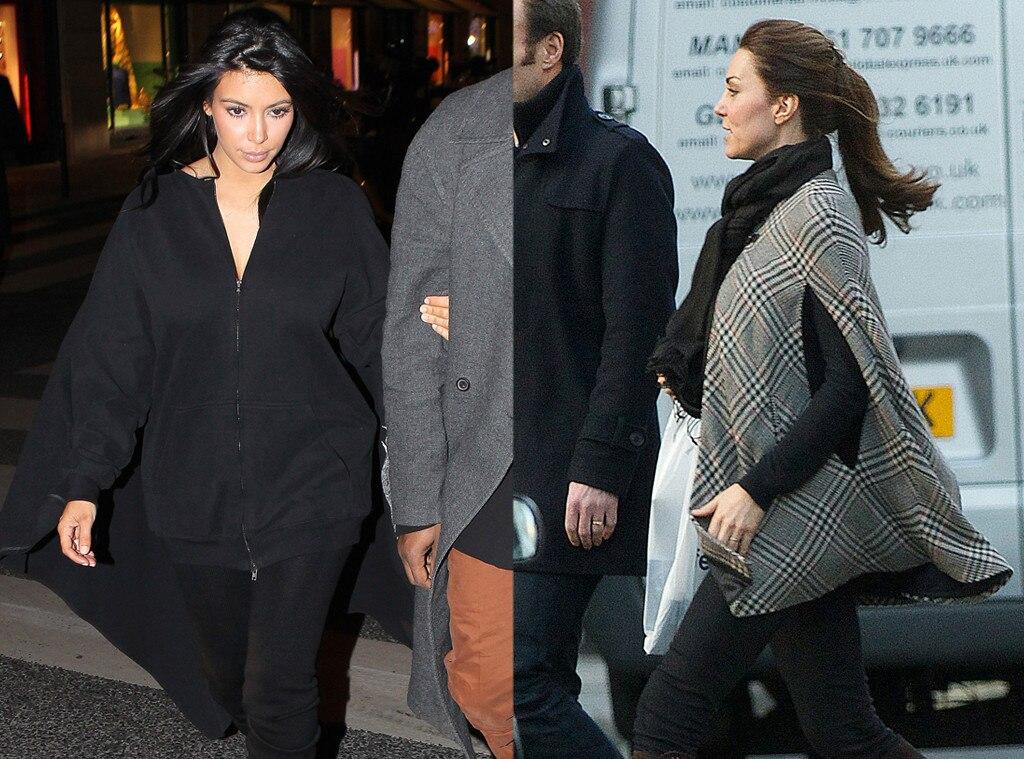 Kim Kardashian, Kate Middleton, Duchess Catherine. Poncho