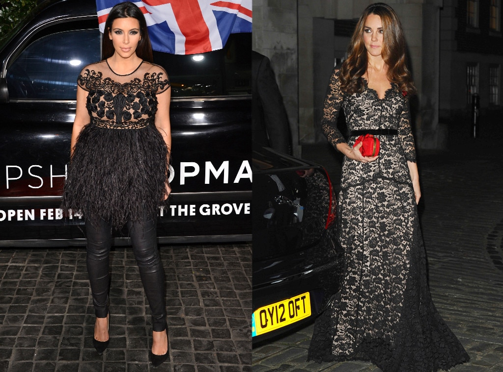 Kim Kardashian, Duchess Catherine, Kate Middleton, Black Lace Party Dress