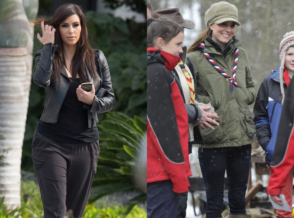 Kim Kardashian, Kate Middleton, Duchess Catherine, Casual