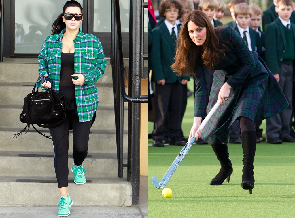 Kim Kardashian, Kate Middleton, Catherine, Duchess of Cambridge, Athletic Green Plaid