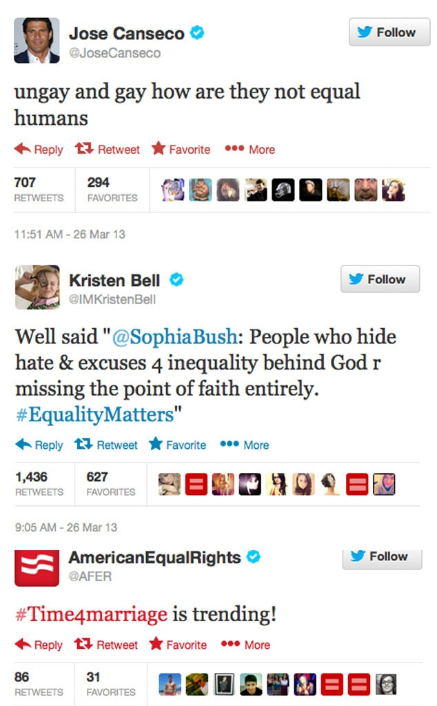 Jose Conseco, Kristen Bell, American Equal Rights, Twitter