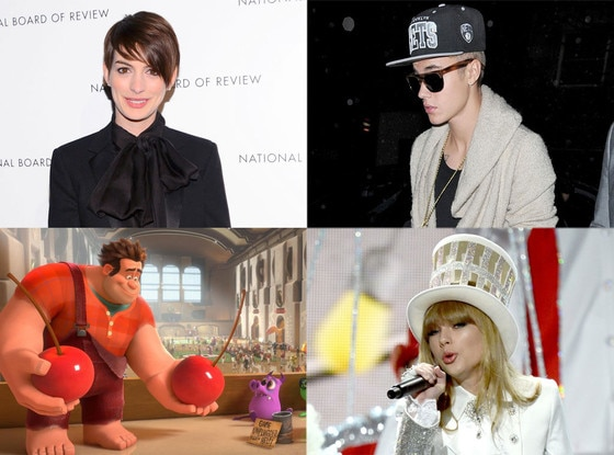 Anne Hathaway, Justin Bieber, Taylor Swift, Wreck It Ralph