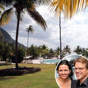 Luciana Bozan Barroso, Matt Damon, St. Lucia, Wedding Renewal