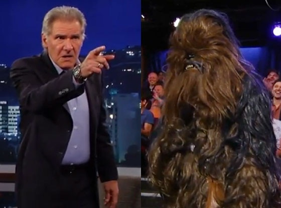Chewbacca and Harrison Ford as Han Solo in Star Wars: The Force ...