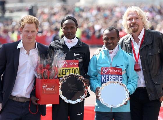 Prince Harry, Priscah Jeptoo, Tsegaye Kebede, Sir Richard Branson