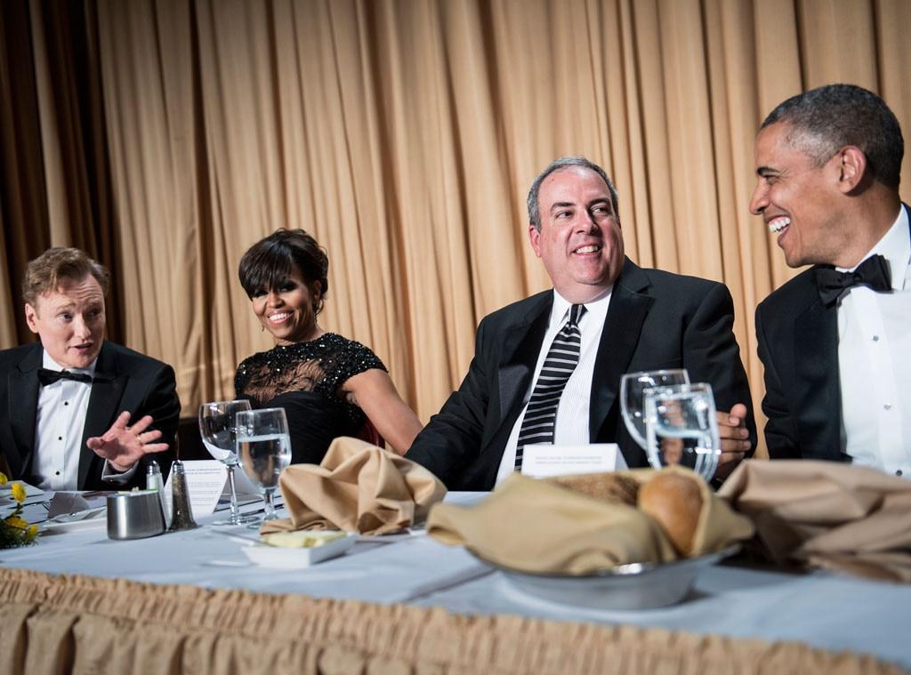 Michelle Obama, Michael Clemente, Conan O'Brien, US President Barack Obama