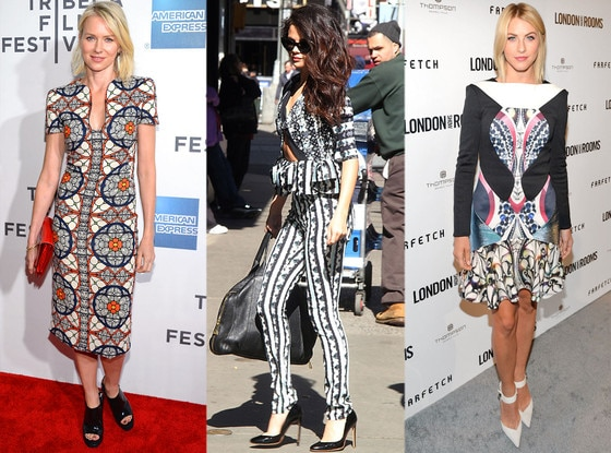 Naomi Watts, Selena Gomez, Julianne Hough, Crazy Prints