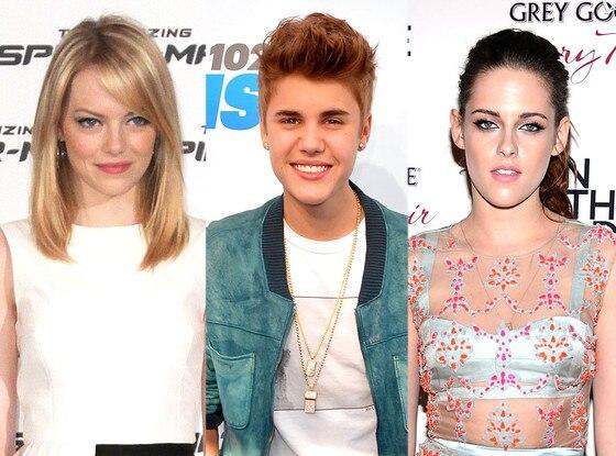 Emma Stone, Justin Bieber, Kristen Stewart