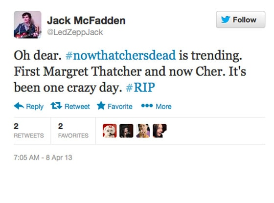 Margaret Thatcher, Cher Tweet