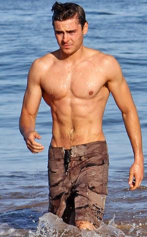 Zac Efron, Shirtless