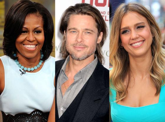 Michelle Obama, Brad Pitt, Jessica Alba