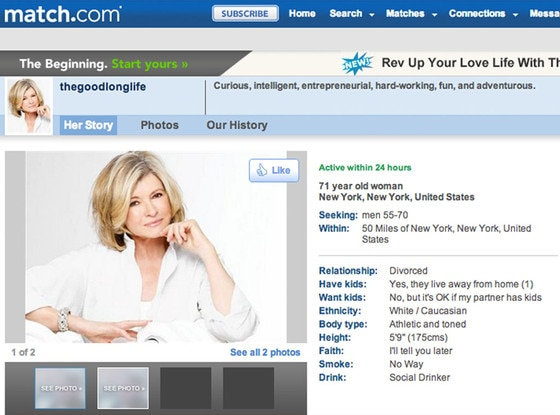 Martha Stewart, Match.com