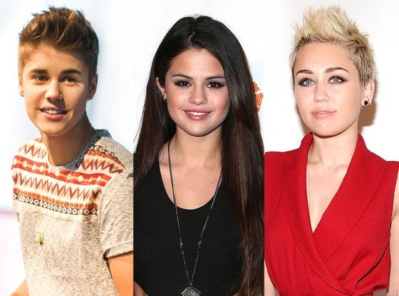 Justin Bieber, Selena Gomez, Miley Cyrus