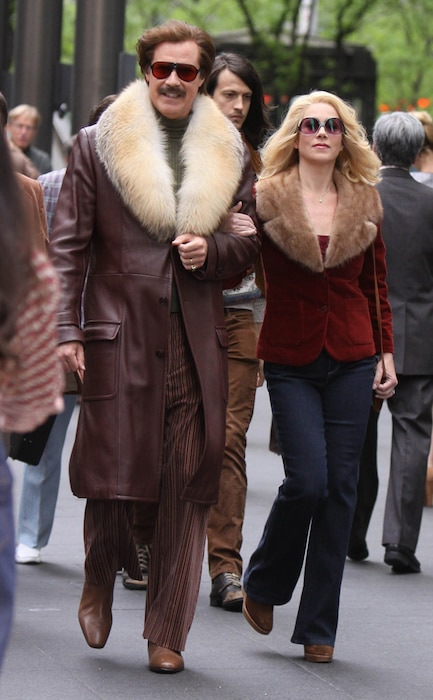 Will Ferrell, Christina Applegate, Anchorman 2 set