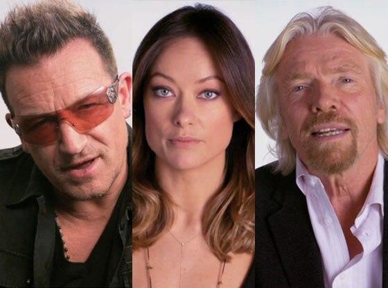 Olivia Wilde, Bono, Richard Branson