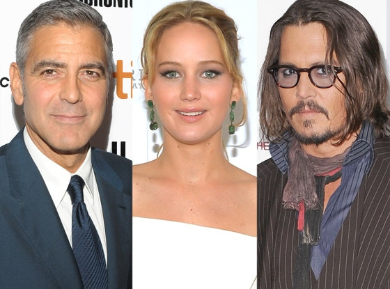 George Clooney, Jennifer Lawrence, Johnny Depp