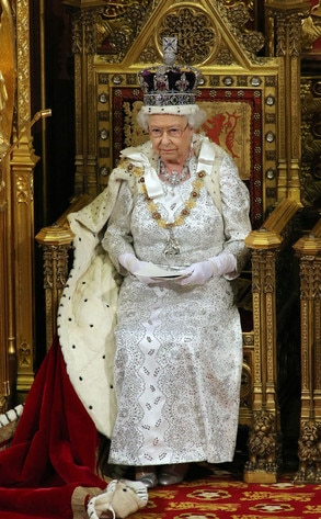Queen Elizabeth Ii Dresses In Full Royal Regalia For State
