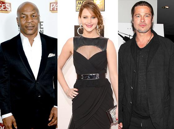 Mike Tyson, Jennifer Lawrence, Brad Pitt