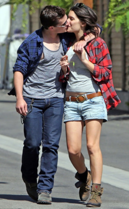 Josh Hutcherson and his girlfriend Claudia Traisac kissing