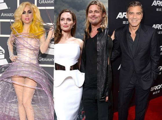Lady Gaga, Angelina Jolie, Brad Pitt, Georgle Clooney