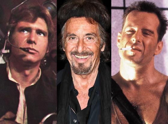 Harrison Ford, Star Wars, Al Pacino, Bruce Willis, Die Hard