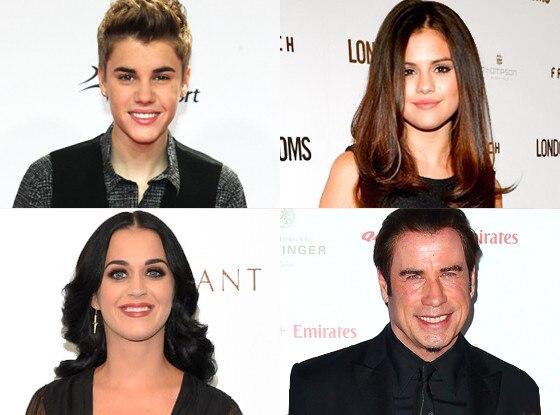 Justin Bieber, Selena Gomez, Katy Perry, John Travolta