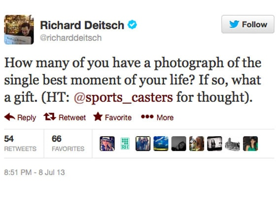 best moment of your life, Richard Deitsch Twitter