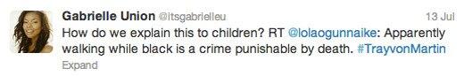 Trayvon Martin tweets - Gabrielle Union