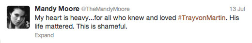 Trayvon Martin tweets - Mandy Moore