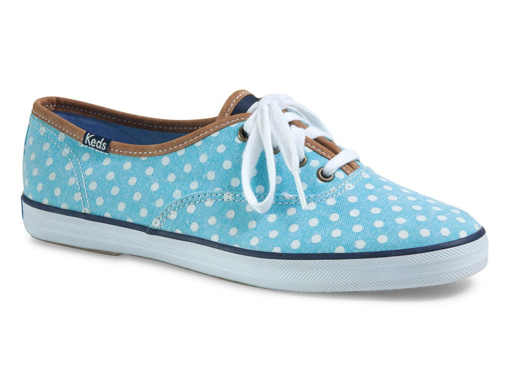 red white and blue keds with polka