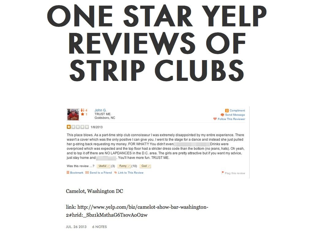 One Star Reviews of Strip Clubs